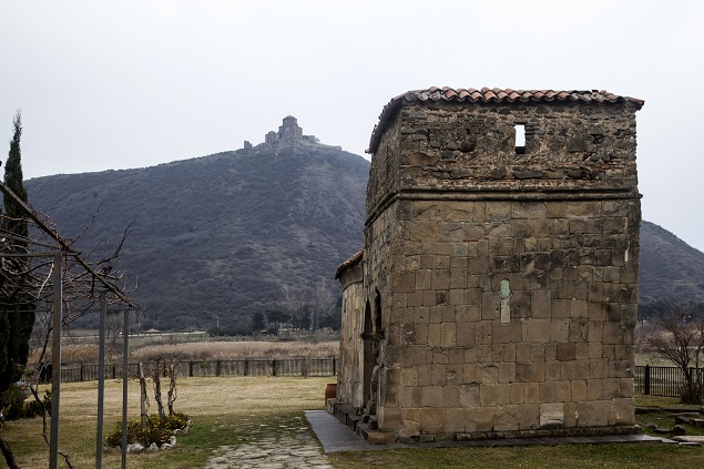 An ancient church in Mtskheta and Jvari Monastery on the background