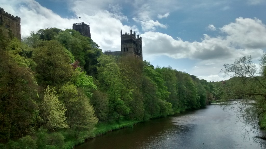 Crossing the bridge from Durham town