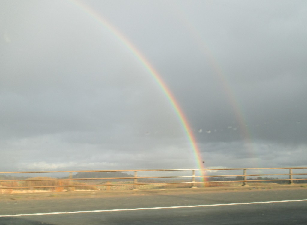 Got a lovely picture of a rainbow whilst traveling down to Wales, first rainbow Jade has seen :)