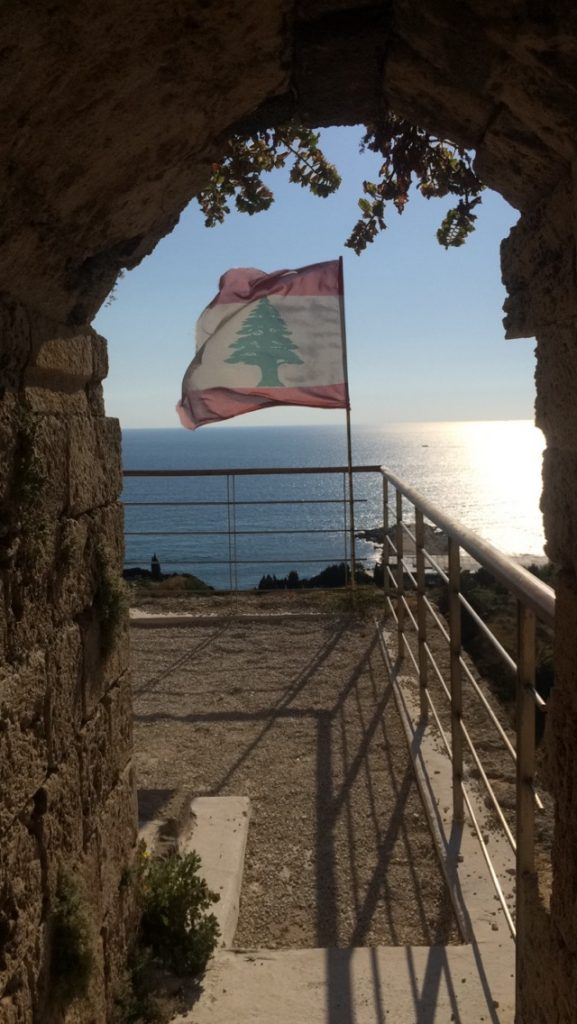 The Lebanese Flag, on top of one the Crusaders Citadel's towers.