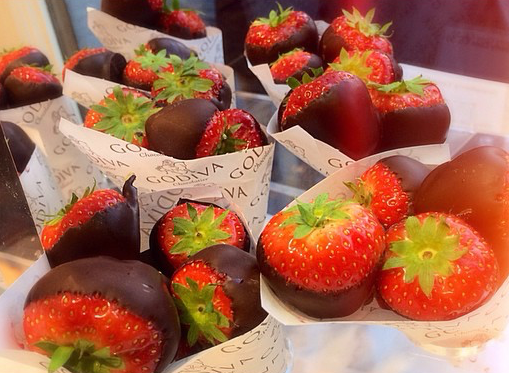 Strawberries dipped in chocolate! Definitely a must try!!