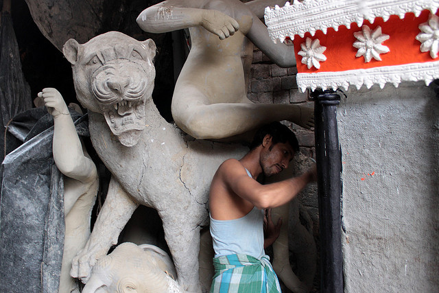 A Durga idol in the Making Picture Courtesy; Shahnawaz Sid