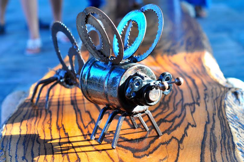 A fly made from metal scrap on display at Kala Ghoda 2016