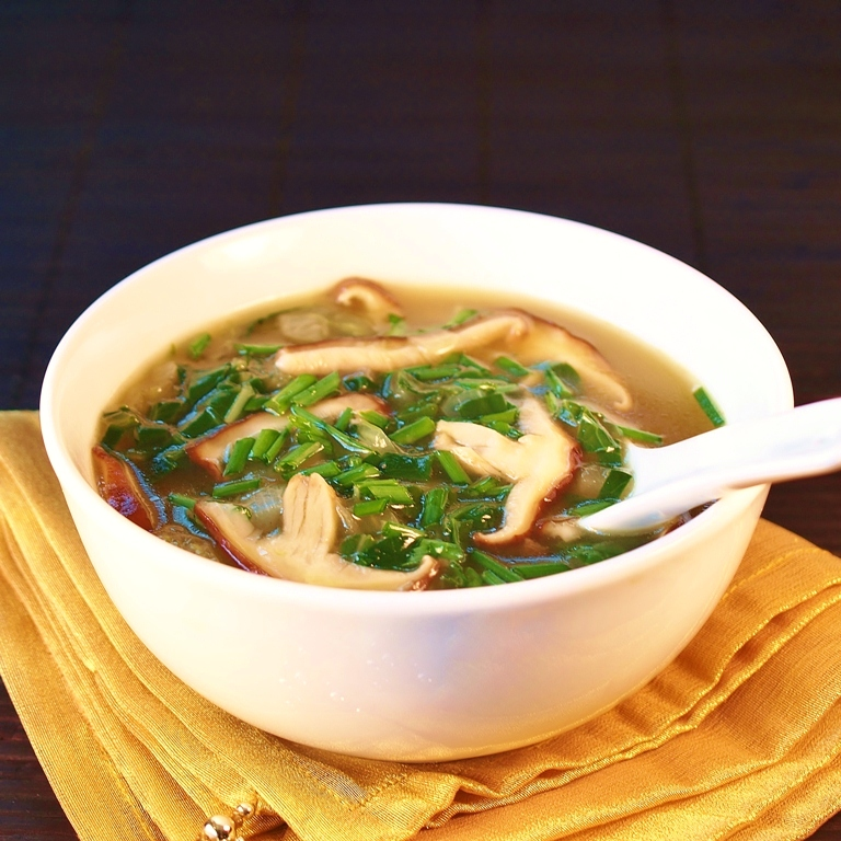 Bokchoy Shiitake Soup is a pretty healthy meal- Image by Feral Kitchen