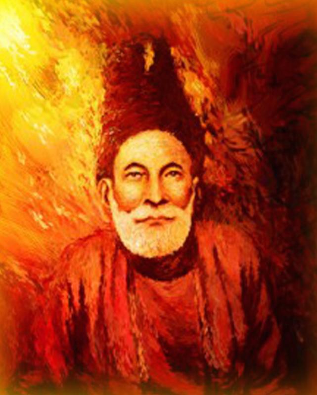 A portrait of Mirza Ghalib.