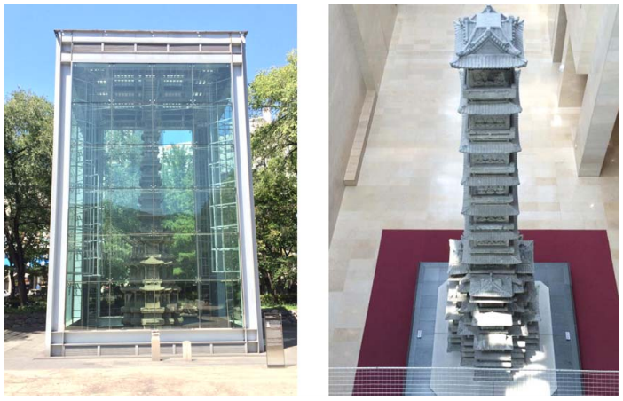 The Current Locations of two Pagodas. (Left) Wongaksaji Pagoda at Tapgol Park, Jongro Gu, Seoul (Right) Kyungcheonsaji Pagoda at National Museum of Korea, Seoul. Photo credit: Myonghwan Ko