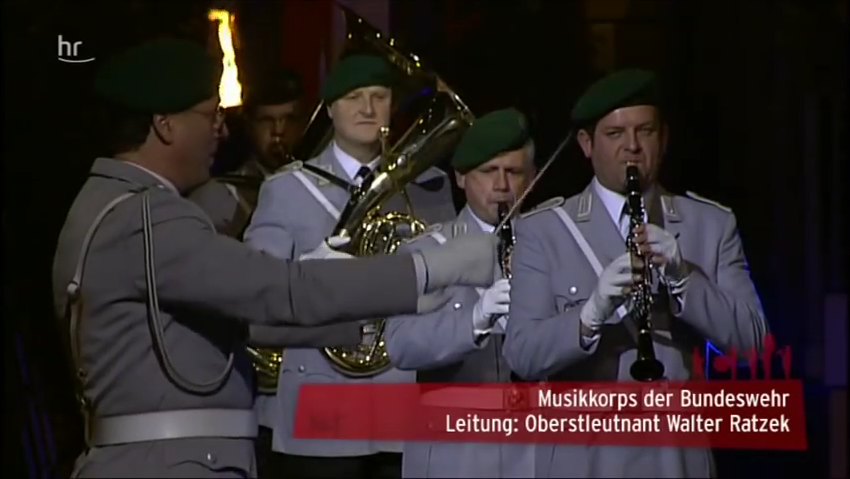 The German military band performing the national anthem