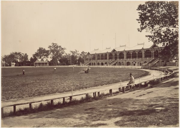 The Melbourne Cricket Ground in 1878, photographed by Charles Nettleton. PD-Australia as a photograph taken before 1 January 1955.