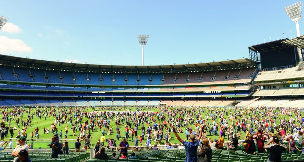 In celebration of the Melbourne Cricket Club 175th anniversary, the MCG had an open day. Thousands turned out to get a rare opportunity to walk on the ground and kick a footy.