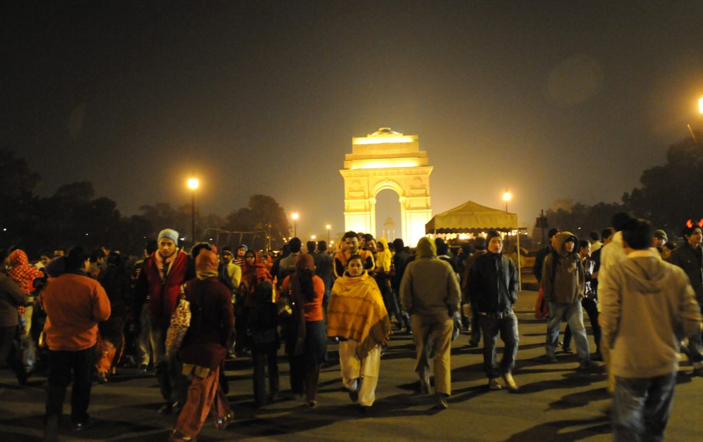 A Huge crowd celebrating the New Year day at the India Gate, in New Delhi on January 1, 2011. P D Photo by Debatosh Sengupta