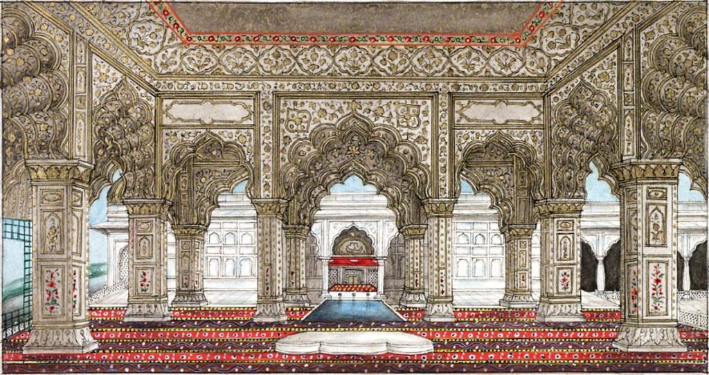 An artist's impression of what the Diwan-i-Khas must have looked like in its full glory. Photo credit: Wikimedia Commons