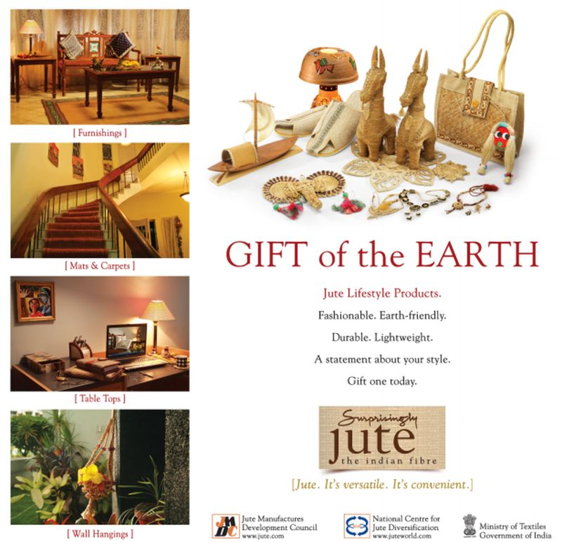 A government advertisement promoting jute as the 'gift of the earth'. Photo credit: jute.com