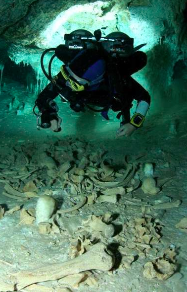 Human Remains at Cenote, Mexico