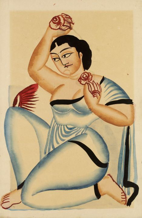 Gopalsundari, or the 'rose beauty'. Photo credit: Nibaran Chandra Ghosh/banglapedia.org Drawing Woman with roses; Kalighat painting by Nibaran Chandra Ghosh of a seated courtesan with roses. Calcutta, ca. 1900. Nibaran Chandra Ghosh Calcutta Ca. 1900 Watercolour on paper