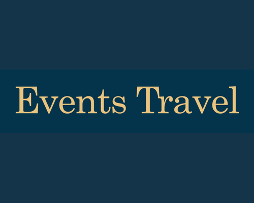 Events Travel Logo Gold On Blue