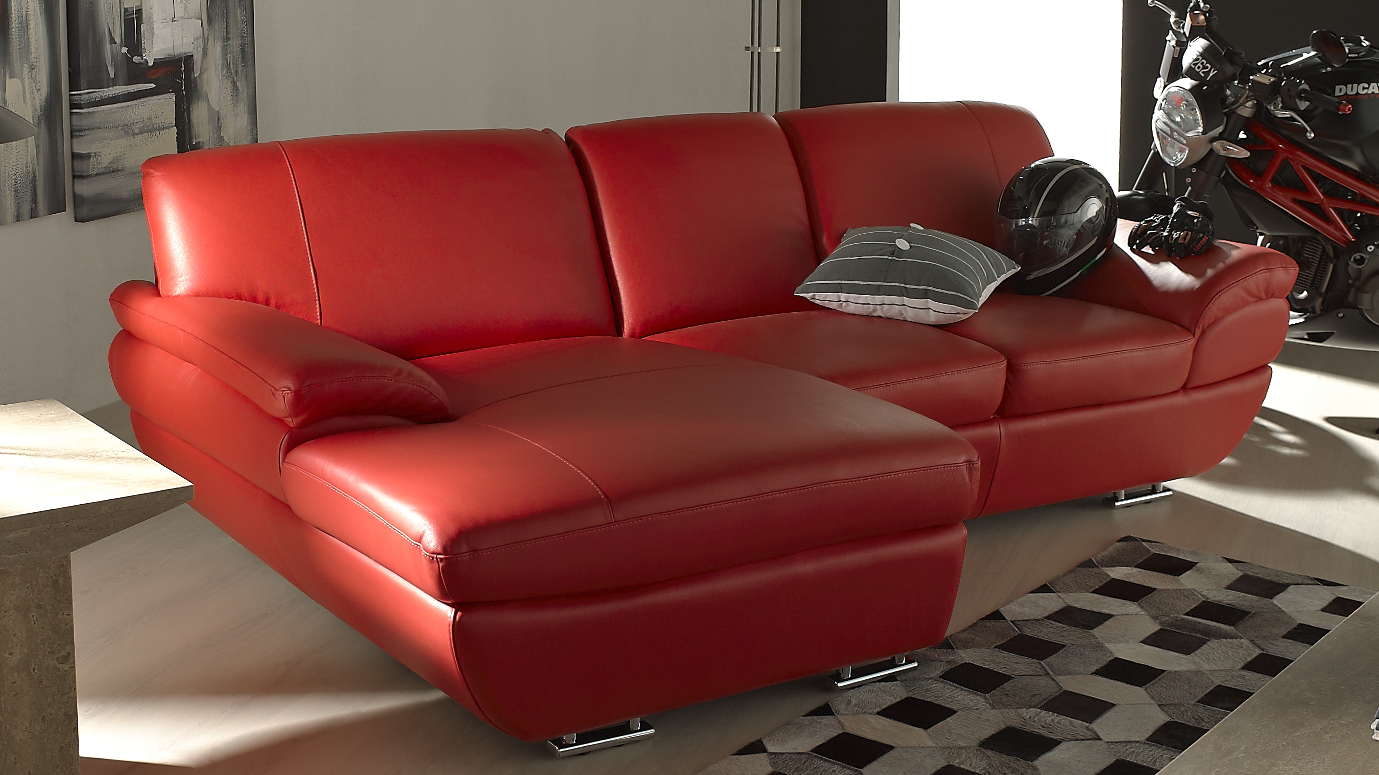 Saporini marta full leather 2 seater sofa with chaise for Sofa with 2 chaise lounge