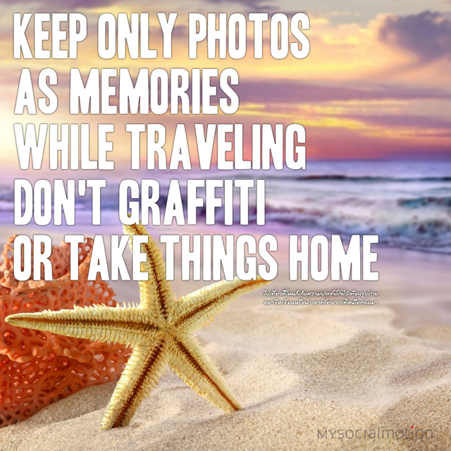 Keep only photos as memories while traveling; don't graffiti or take things home