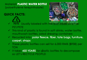 info that pops up when a plastic water bottle is scanned