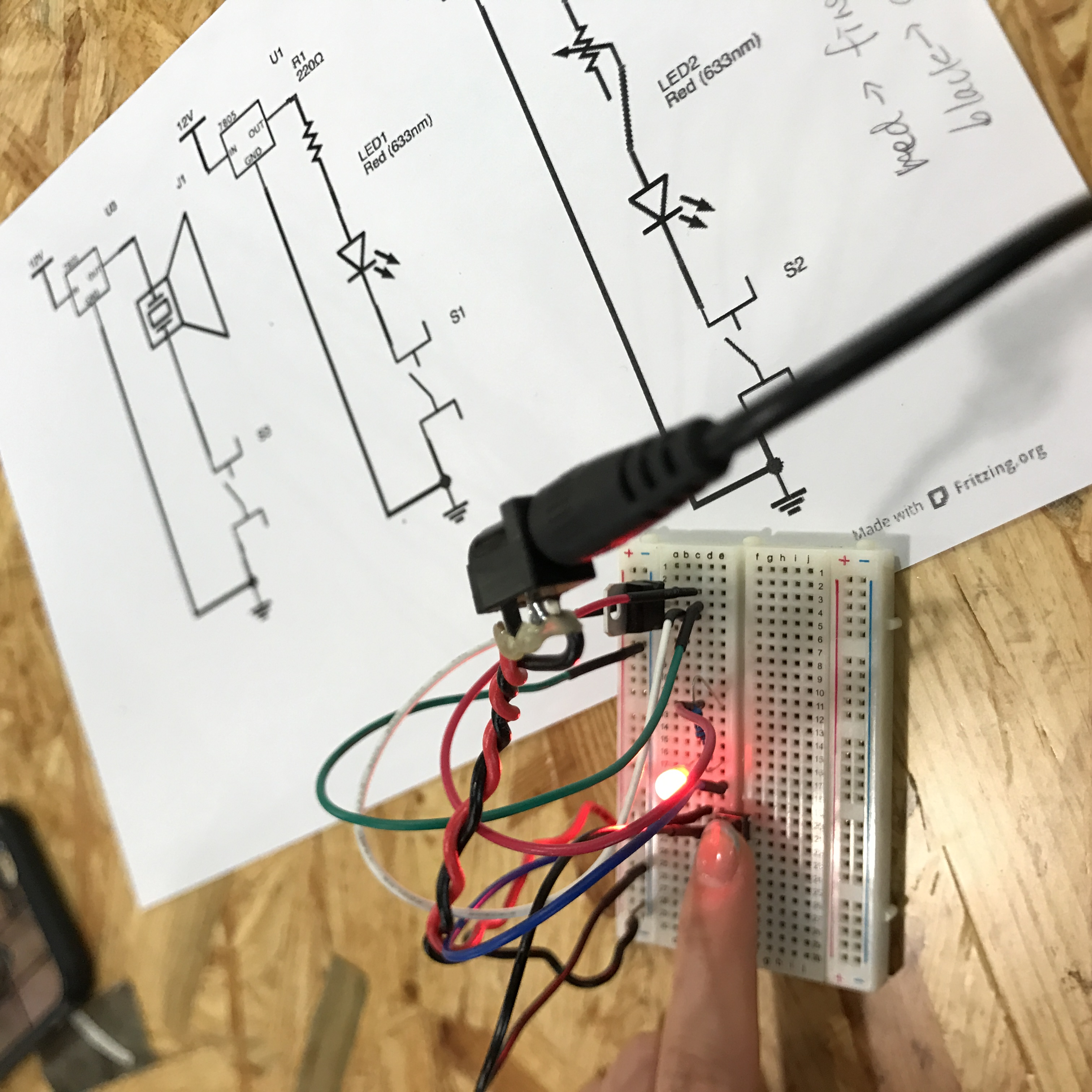 Ima Interaction Lab The Circuit Is Very Simple It Just 2 Leds Switches In This Exercise We Thought Did Everything Right But Led Could Not Work Eventually Found Problem That Put Switch Wrong