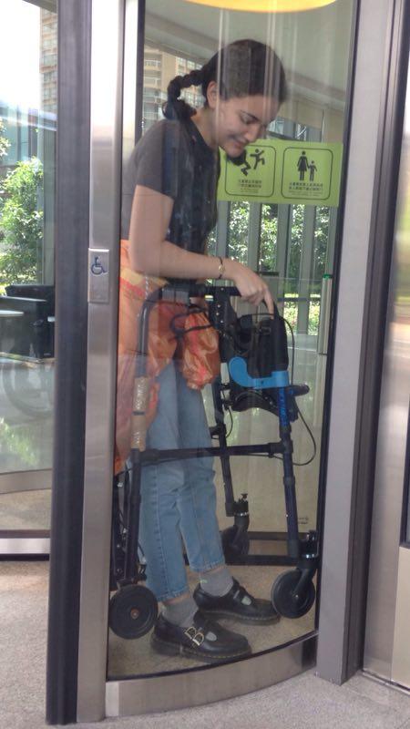 walker gets stuck in rotating doors
