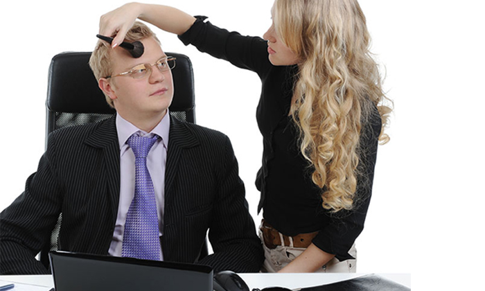 Employee applying make up to boss to show most unusual boss requests