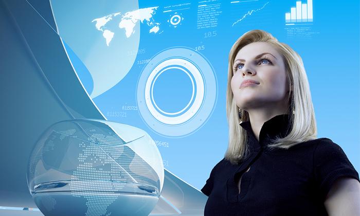 Futuristic representation of woman leader to show the profile of a CEO in 2040