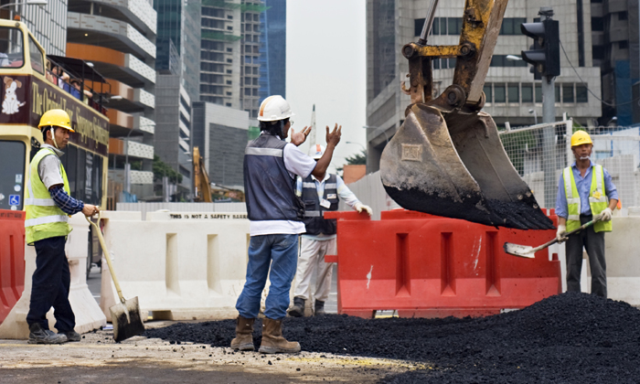 Foreign construction workers in Singapore