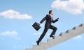 Man climbing corporate ladder