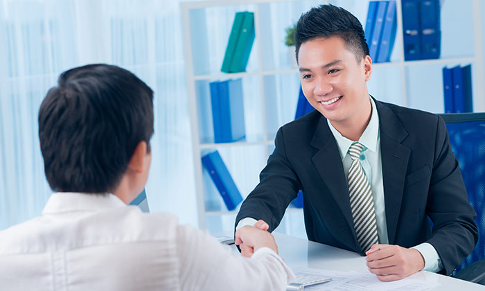 Hiring Asian handshake