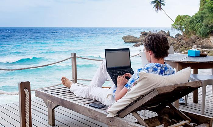 remote working laptop beach