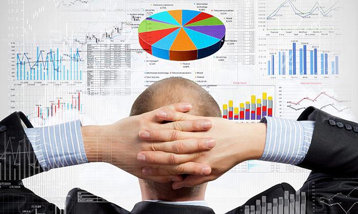 Employee geek looking at pie chart