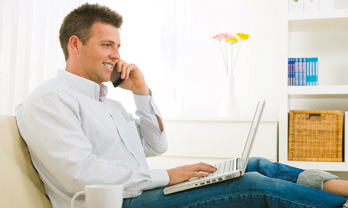 Working from home businessman on phone