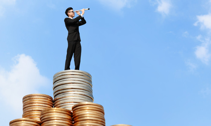 Business man standing on pile of money, hr