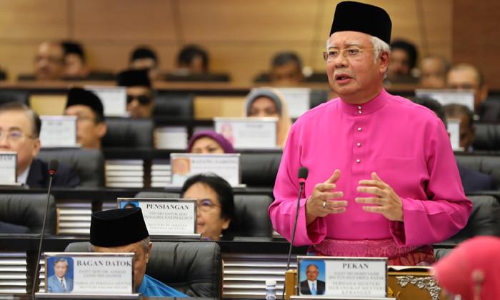 Malaysia's PM Najib Razak presenting Bajet 2017