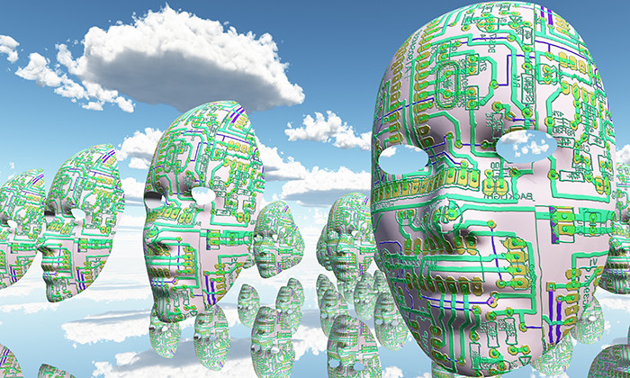 Artificial Intelligence faces floating in the air, hr