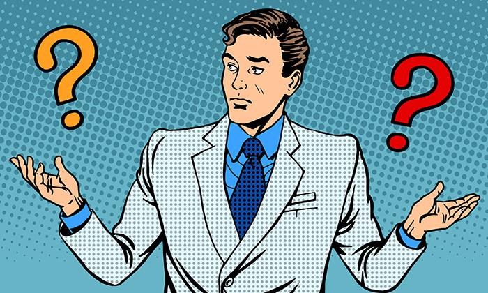 Businessman looking confused, hr