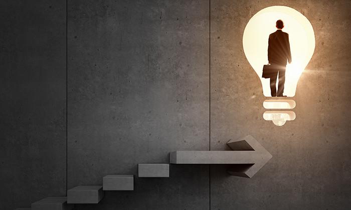Businessman on a career ladder, hr