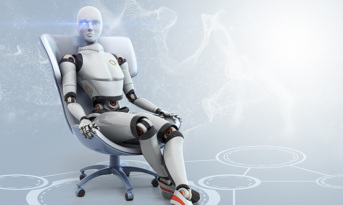 AI sitting in an office chair, hr