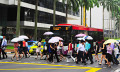 Bustling street in Singapore