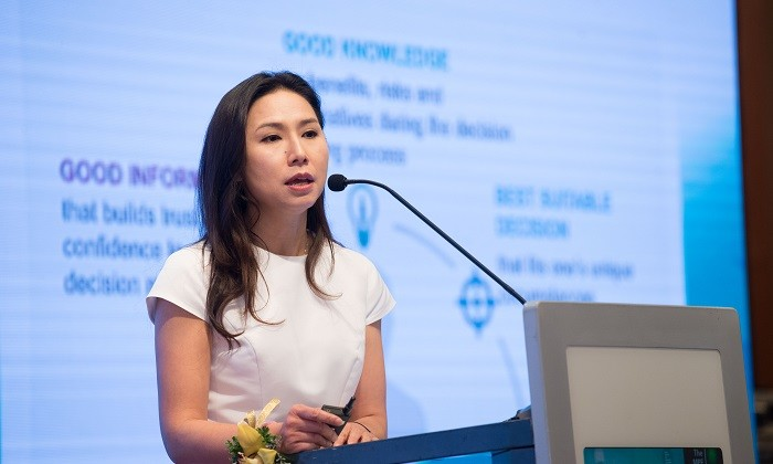 Gloria Siu on stage at Gain Miles MPF Forum, hr