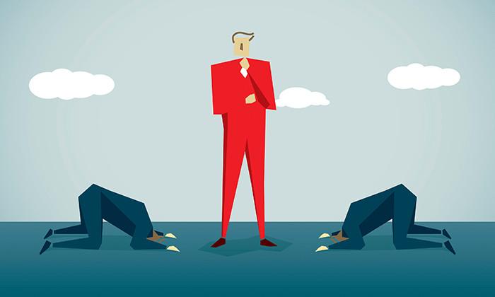 Job seekers kneeling before boss, hr