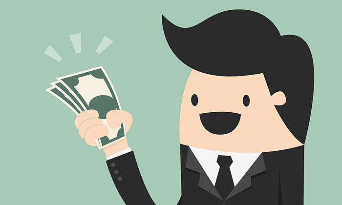 businessman holding money - 123RF