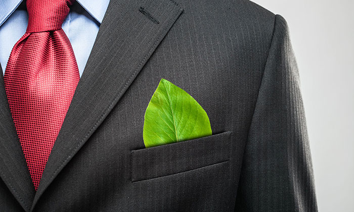 businessman with leaf in pocket - 123RF