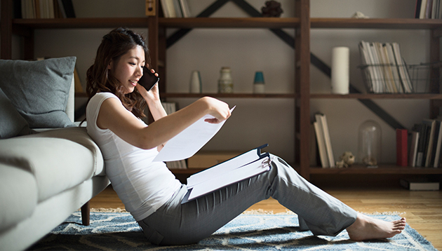 Woman taking part in a phone interview, hr