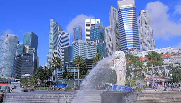 Singapore CBD area Merlion