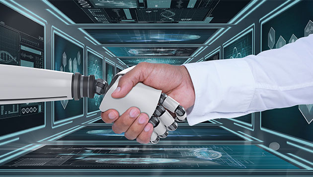 robot and human shaking hands - 123RF
