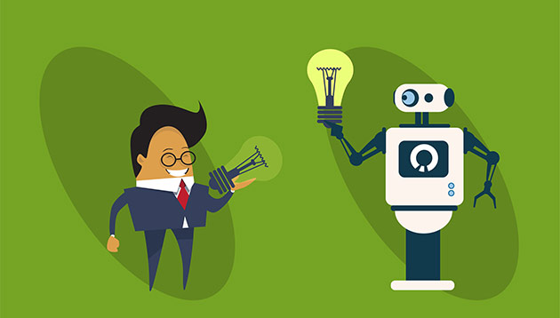 robot and human - 123RF
