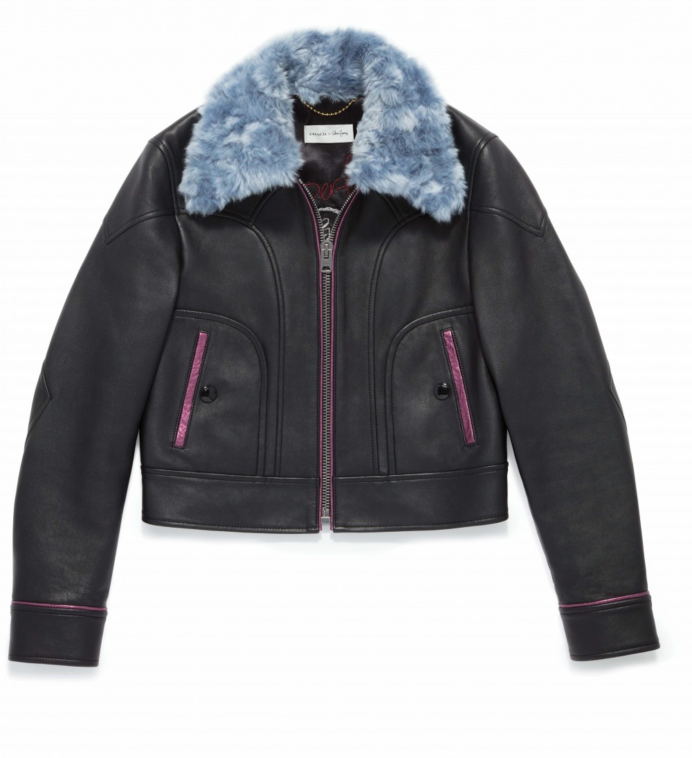 Coach x Selena Gomez_39284_Leather Jacket with Faux Fur Collar_Black