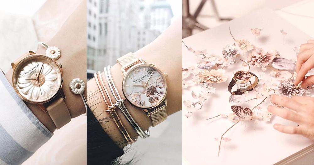 可以戴在手腕的英倫花園:錶面除了有印刷圖案,連立體雕刻花花小鳥都有,時間流動都變得浪漫