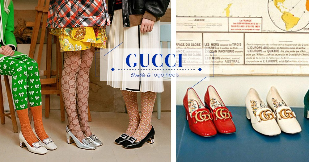 Gucci為你呈現兩款不同G字logo的復古感高跟鞋,你喜歡哪雙?